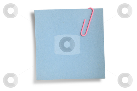 Blue remainder note isolated  stock photo, Blue remainder note isolated on white background, with pink clip. by Pablo Caridad