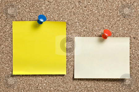 Yellow remainder notes on cork. stock photo, Yellow remainder notes on cork board, with tacks. by Pablo Caridad