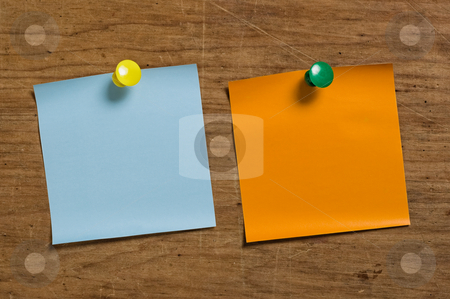 Two reminder notes stock photo, Two reminder notes with tacks on wooden surface. by Pablo Caridad