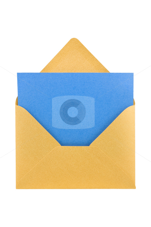 Open golden envelope, isolated, path provided. stock photo, Open golden envelope, with blue sheet inside, isolated, clipping path. by Pablo Caridad