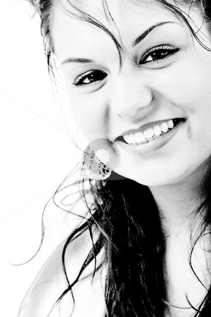 Contrast smile stock photo, Young beauty girl smiling in black asnd white with high contrast by Frenk and Danielle Kaufmann