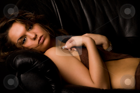 Brunette in lingerie looking into the lens stock photo, Fresh brunette girl in lingerie on a bench by Frenk and Danielle Kaufmann