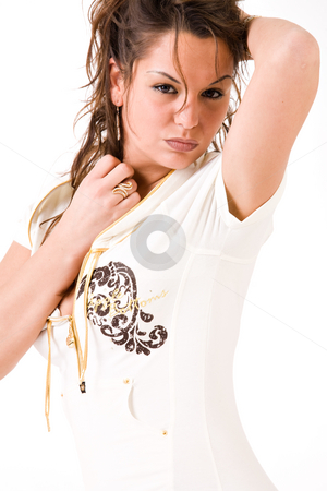 Sexy brunette girl stock photo, Sexy brunette woman on a white background in her white shirt by Frenk and Danielle Kaufmann