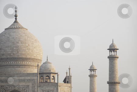 Taj Mahal in India stock photo, A view of the domes and minarets of the Taj Mahal mausoleum in Agra, India by A Cotton Photo
