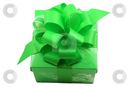 Green Present stock photo, A green present with a green ribbon isolated on the white background by Petr Koudelka