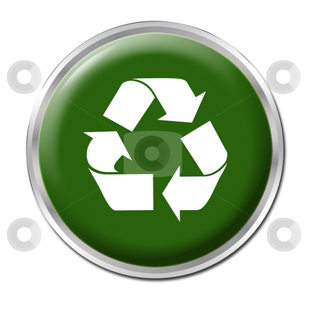 Recycle Button stock photo, Green button with the symbol for recycling by Petr Koudelka