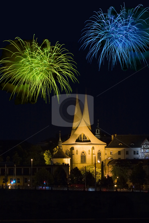 Prague by Night stock photo, Monastery Emauzy (Emmaus)  in Prague with fireworks by night by Petr Koudelka