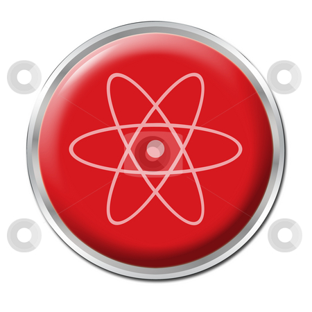 Radioactive Button stock photo, Red button with the symbol for radioactivity by Petr Koudelka