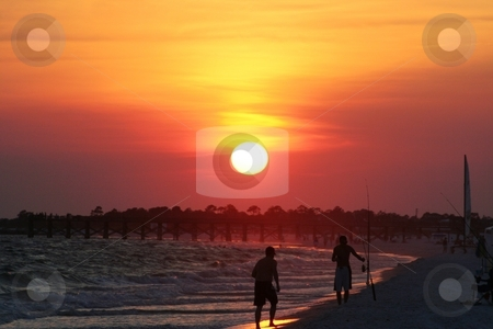 Beach at Sunset stock photo, Sunset at Mexico Beach, Florida. by Debbie Hayes