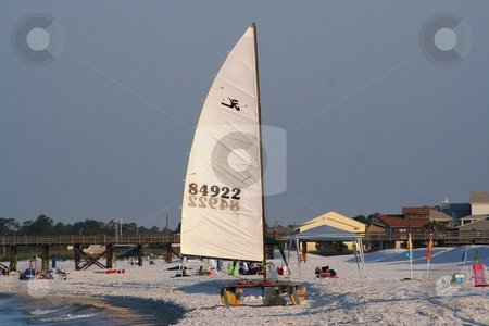 Sailboat on the Sand stock photo, Sailboat on the beach at Mexico Beach, Florida by Debbie Hayes