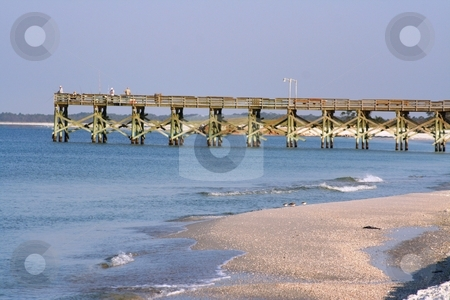 Fishing Pier in Florida stock photo, Fishing pier at Mexico Beach, Florida by Debbie Hayes