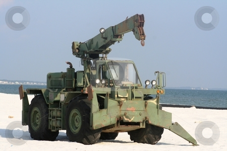 Army Vehicle on the Beach stock photo, Army vehicle on the beach at Mexico Beach, Florida by Debbie Hayes