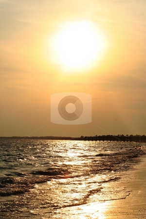 Beach at Sunset stock photo, Sunset at Mexico Beach, Florida by Debbie Hayes
