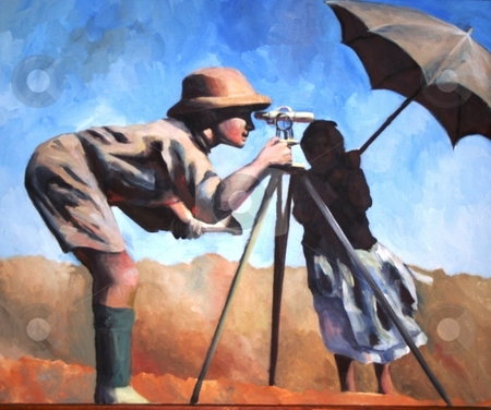 Surveyor stock photo, Painting of a surveyor in the hot sun by Debbie Hayes