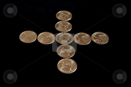 Plus Mark stock photo, A plus mark made out of dollar coins by Kevin Tietz