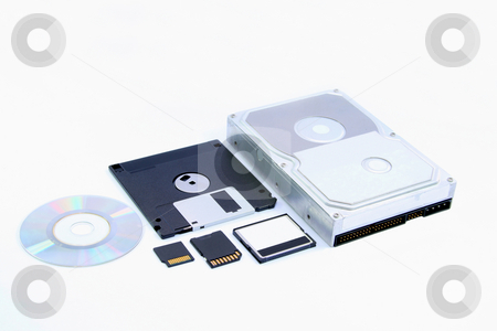 Storage evolution 2 stock photo, Six different types of memory storage devices by Jonas Marcos San Luis