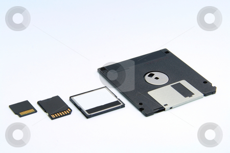Disk evolution stock photo, Four different types of memory storage devices by Jonas Marcos San Luis