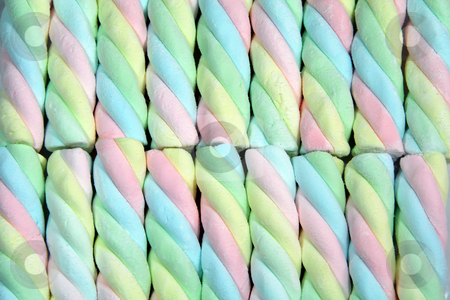 Marshmallow twists stock photo, Rainbow colored marshmallow twists by Jonas Marcos San Luis