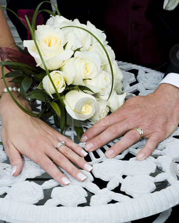 Wedding rings stock photo, Just married couple showing their rings by Vlad Podkhlebnik