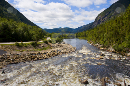 Landscape stock photo, Beautiful landscape with mountains river and forest by Vlad Podkhlebnik
