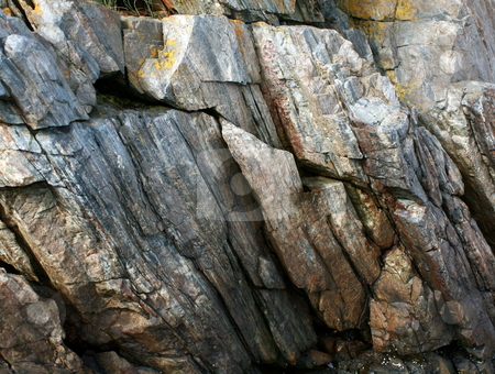 Granite Rock Walls - Climb stock photo, Granite walls in Maine, showing striations of gray by Tom and Beth Pulsipher