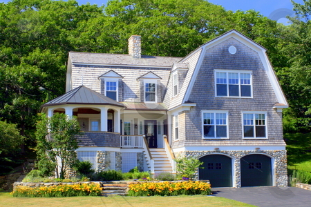 Classic Maine Summer Home stock photo, A classic Maine summer home by Tom and Beth Pulsipher