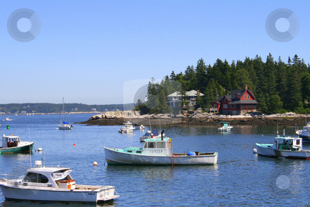 Boats at Five Islands Harbor, Maine stock photo,  by Tom and Beth Pulsipher