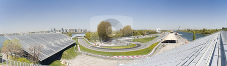Raceway stock photo, Panoramic view of the Gilles Villeneuve raceway in Montreal by Vlad Podkhlebnik