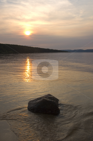 Sunset stock photo, View of a peacefull sunset on a river by Vlad Podkhlebnik