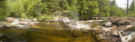 River stock photo, Panoramic view of a small river flowing in the middle of a forest by Vlad Podkhlebnik