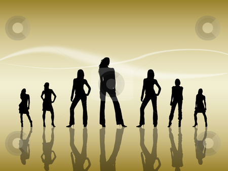 Women Silhouettes stock photo, Silhouettes of seven sexy women reflecting on the floor by Vlad Podkhlebnik