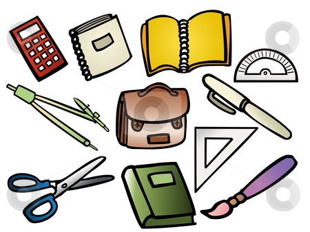 School supplies stock photo, Vector based illustrations of school supplies by Vlad Podkhlebnik