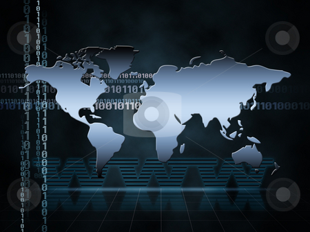 World Map stock photo, Illustration of the world map with ones and zeros by Vlad Podkhlebnik