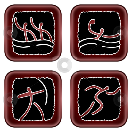 Olympicons stock photo, Illustration of four of the olympic sports by Vlad Podkhlebnik