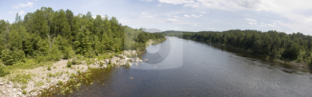 Landscape stock photo, Panoramic view of a river surrounded by forests by Vlad Podkhlebnik