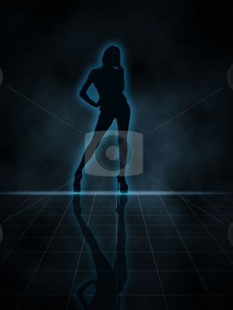 Sexy Silhouette stock photo, Illustration of a woman glowing silhouette on black background by Vlad Podkhlebnik