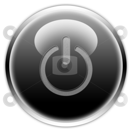 Switch on button stock photo, Black and white computer on and off switch by Vlad Podkhlebnik