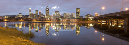 Montreal stock photo, Panoramic night view of Montreal city in Quebec, Canada by Vlad Podkhlebnik