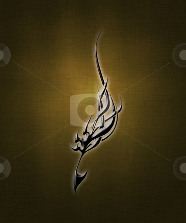 Tribal sign stock photo, Illustration of a black tribal sign on a gradient background by Vlad Podkhlebnik