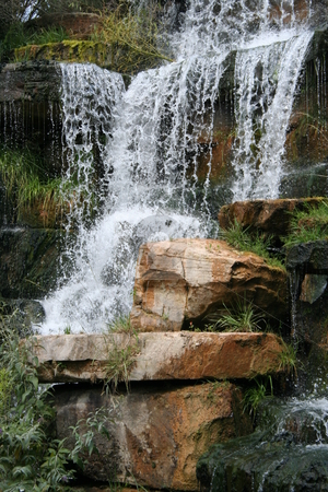 Waterfall stock photo, Man made waterfall in Spring Park in Tuscumbia, Alabama by Debbie Hayes