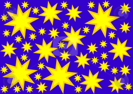 Background with Stars stock photo, Background with yellow and gold stars on the dark blue by Petr Koudelka