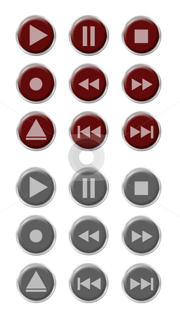 Button Set stock photo, Set of nine red buttons with nine grey