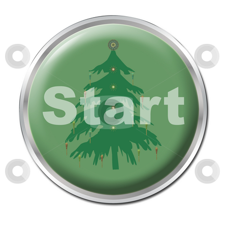 Button To Start Christmas stock photo, A green button starting your christmas spell by Petr Koudelka