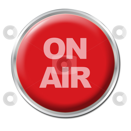On Air Button stock photo, A round red button with a warning ON AIR by Petr Koudelka