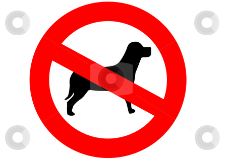 Dogs Are Not Allowed stock photo, A red sign meaning