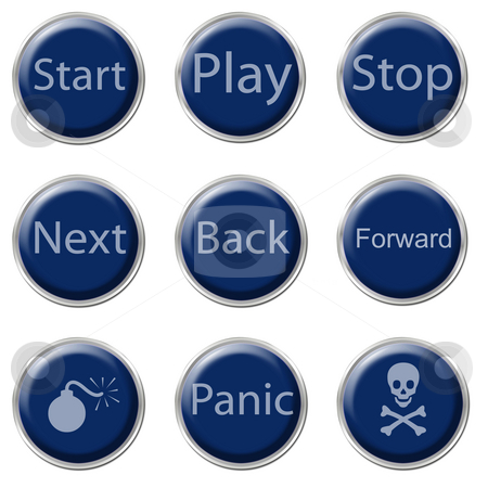 Button Set stock photo, A set of nine blue buttons on the white background by Petr Koudelka