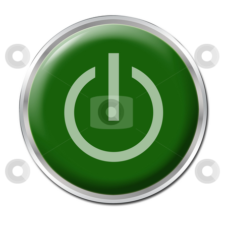 On/Off Button stock photo, Green button with the symbol