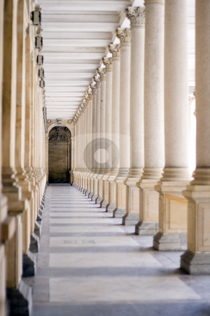 Spa Colonnade stock photo, A spa colonnade with vaulting shafts of marble in Bohemian spa by Petr Koudelka