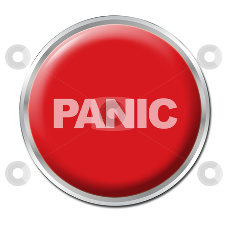 Panic Button stock photo, Red round button with the word