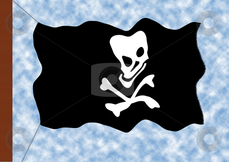 Blackjack stock photo, A flag with a white skull on the black background - the blackjack by Petr Koudelka